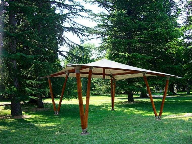 gazebos modernos jardin bambu tela precioso ideas