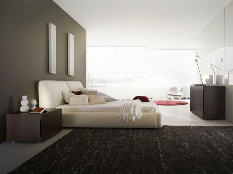 Dormitorios de matrimonio de colores oscuros 50 ideas - Pared habitacion ...