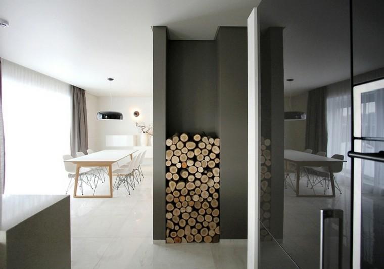 gris paredes cortinas mesa madera