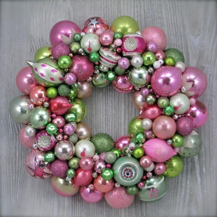 guirnalda bolas color rosa verde