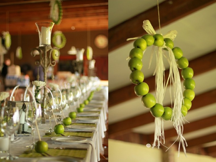guirnalda colgante manzanas verdes collage