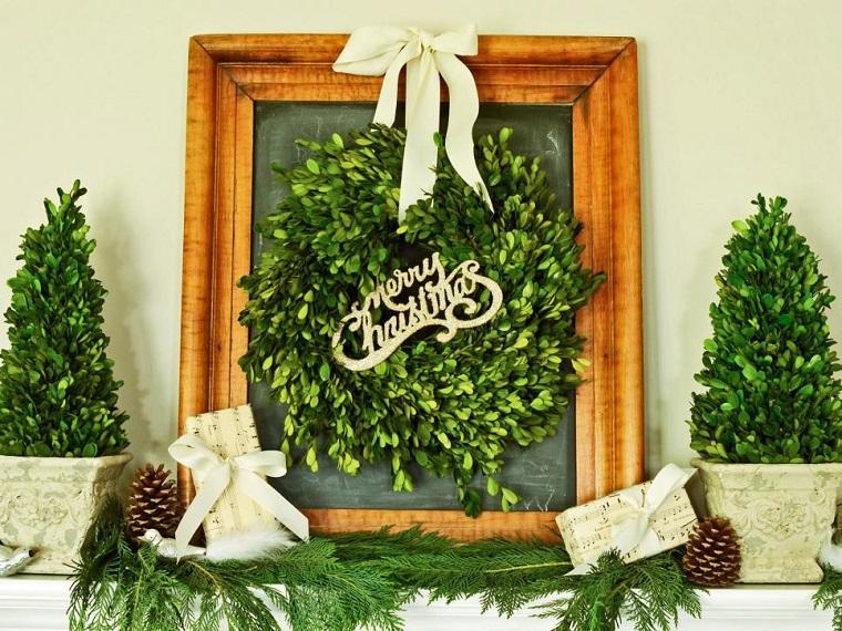 guirnalda cuadro decorando casa navidad ideas