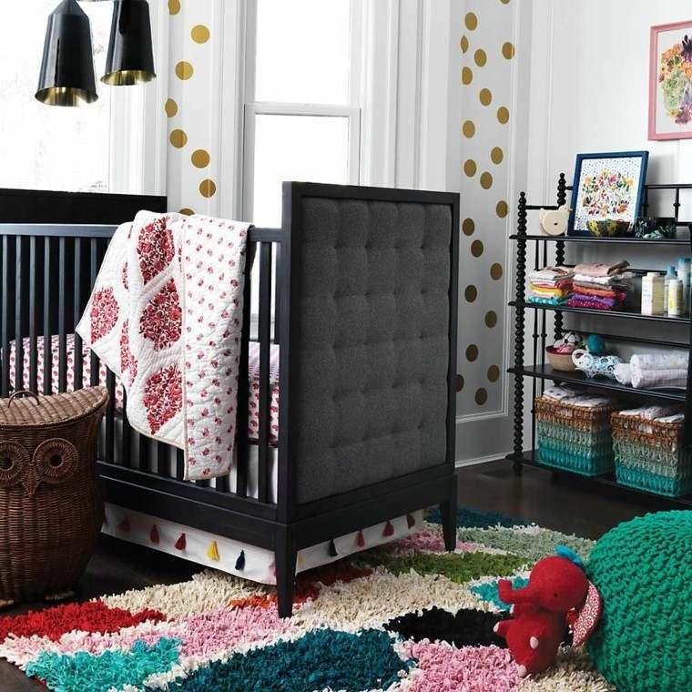 habitacion bebe mueble cuna estanteria negra ideas