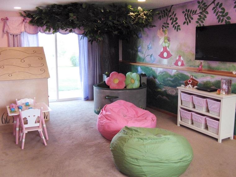 habitacion juegos ninos chicas color rosa moderna ideas