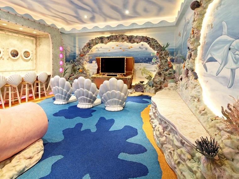 habitacion juegos ninos marino alfombra azul ideas