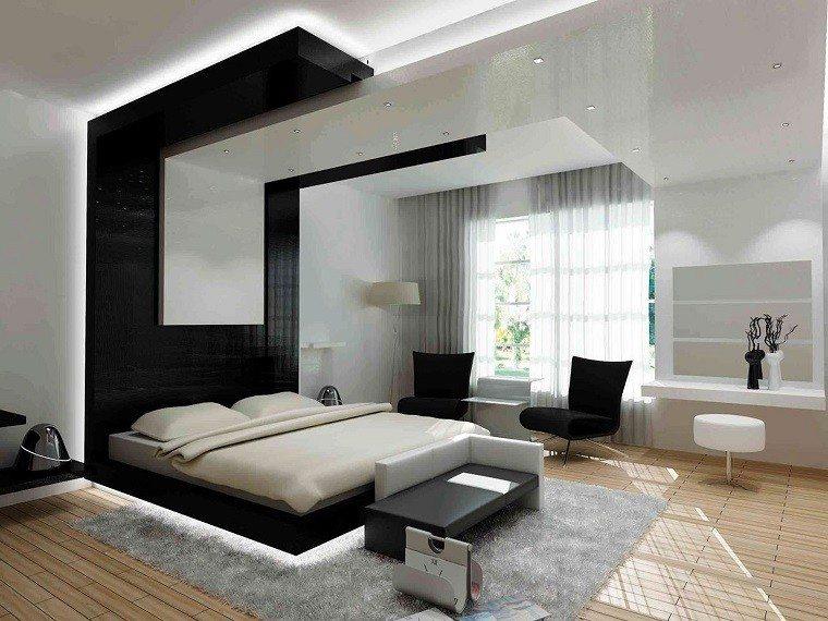 habitacion moderna suelo madera cama