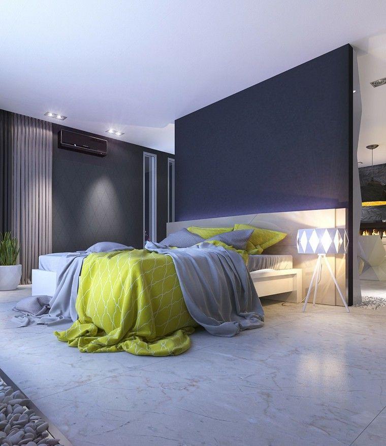 habitaciones de matrimonio alfombra grises pared