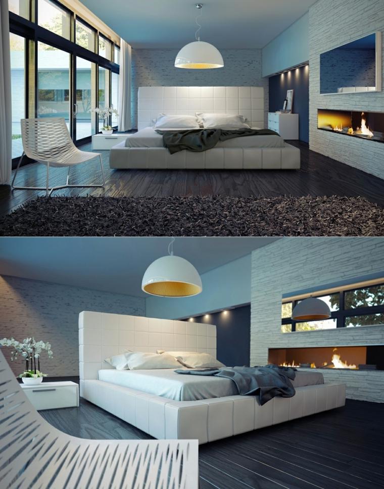 habitaciones de matrimonio chimenea moderna fuego
