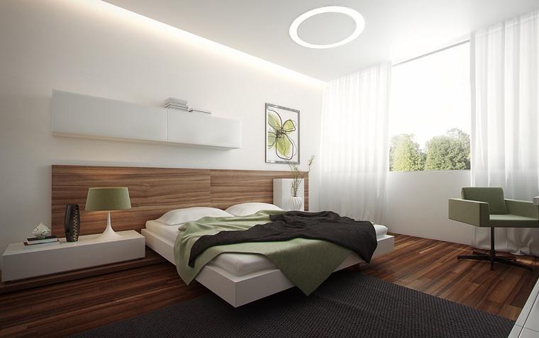 habitaciones de matrimonio verde madera gris