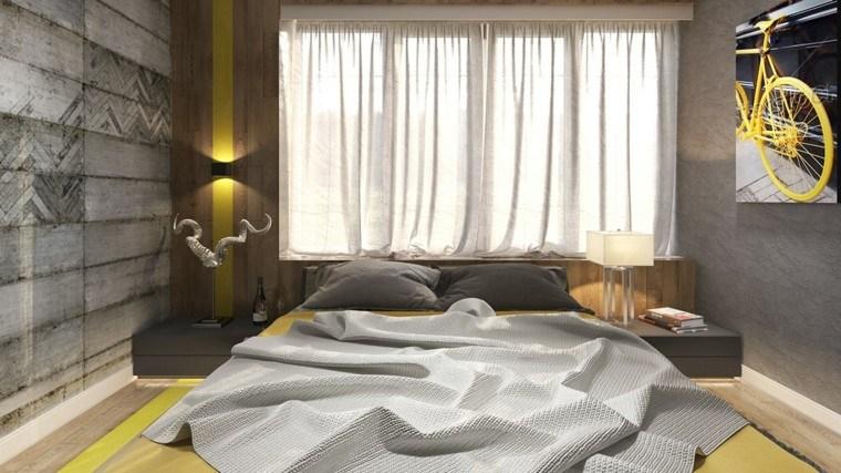 habitaciones decoracion diseño amarillo gris cuadro