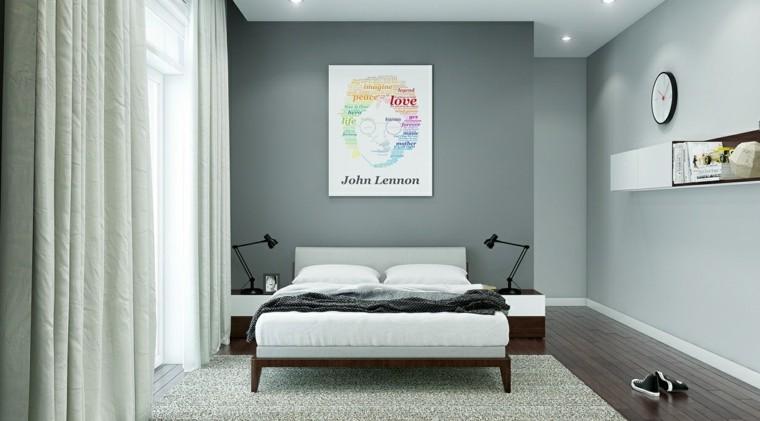 habitaciones decoracion diseño cuadro lennon gris
