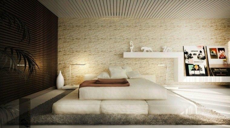 habitaciones modernas diseño paredes ladrillo