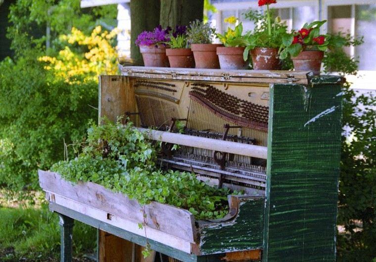 idea verde piano madera macetas