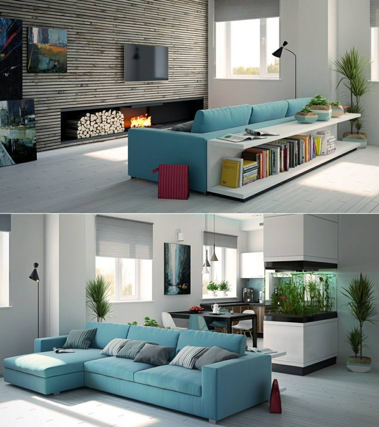 ideas decoracion salones azul mobiliario chimenea