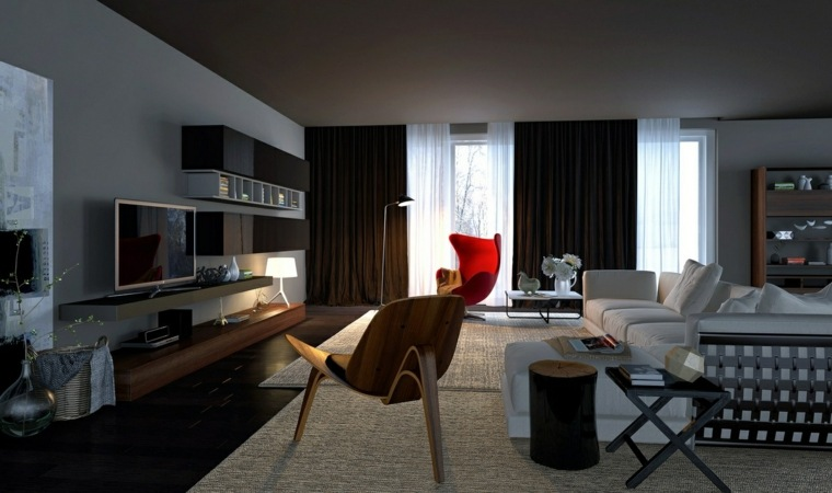 ideas decoracion salones madera vidrio rojo