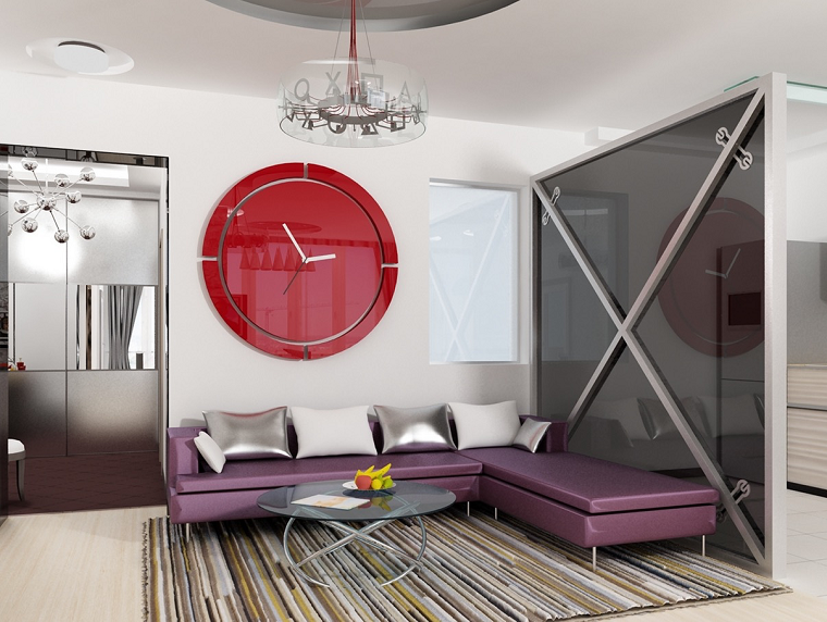 ideas decoracion salones moderno reloj rojo