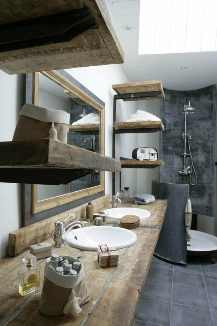 intenso gris baño decorado madera