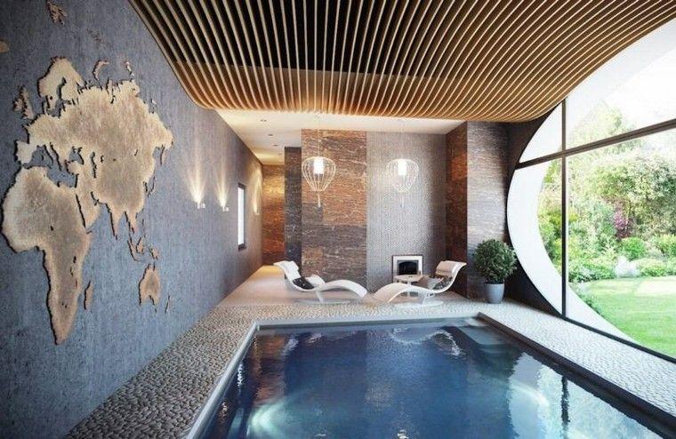 interior agradable mapa paredes mundial