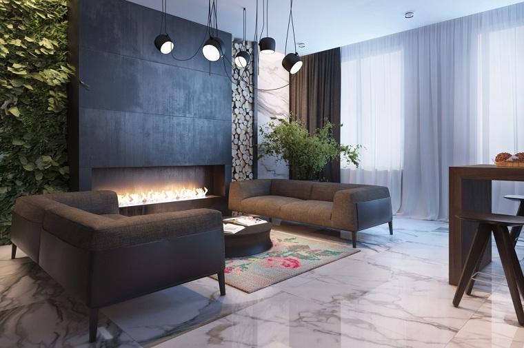 interior moderno acero paredes metal
