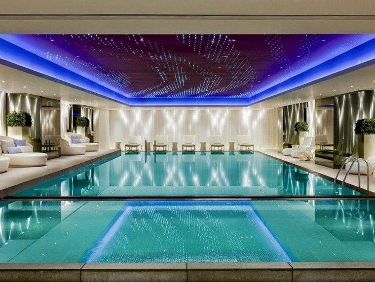interior plantas rocas piscina led