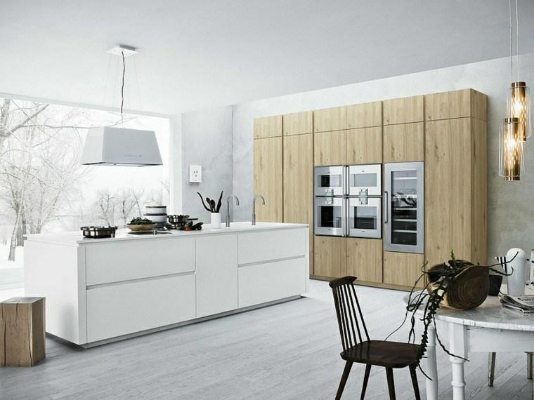 isla cocina blanca mueble madera