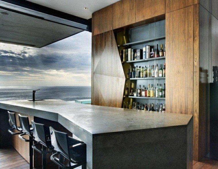 isla cocina bar cemento pulido