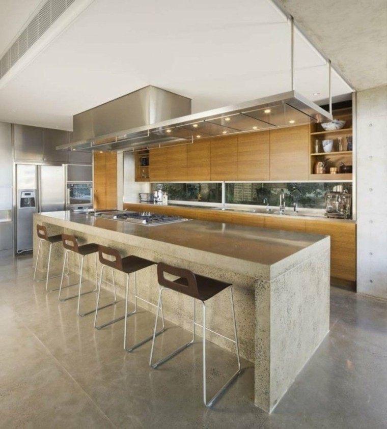 isla cocina diseño cemento gris