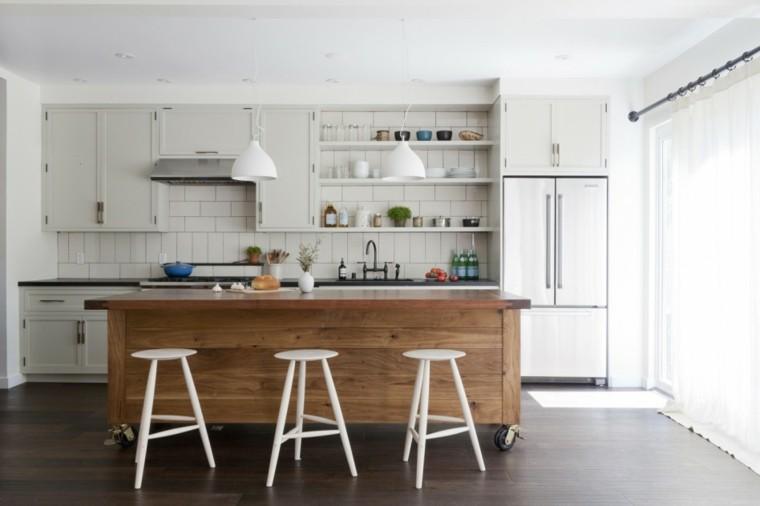 Color blanco y madera de roble para las cocinas modernas for Isla cocina madera