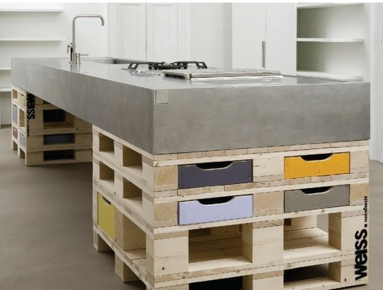 isla cocina palet madera cemento