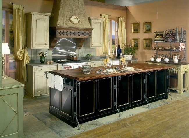 isla cocina negro diseño madera
