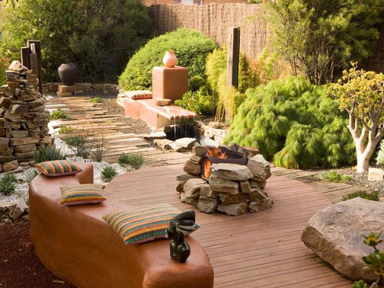 jardin estilo africano banco lugar fuego piedras diseno ideas