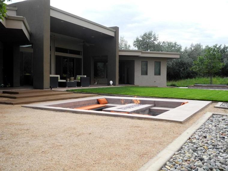 jardin lugar fuego cesped amplio descanso moderno ideas