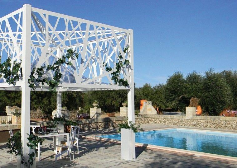 jardin piscina gazebos blancos madera piscina ideas