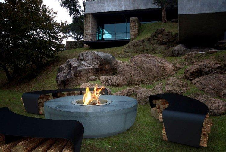 gardens fire pit logs patio concrete