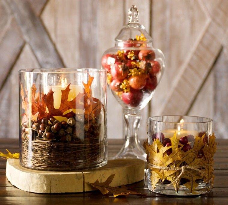 jarrones cristal precioso hojas secas arbol decorativas ideas