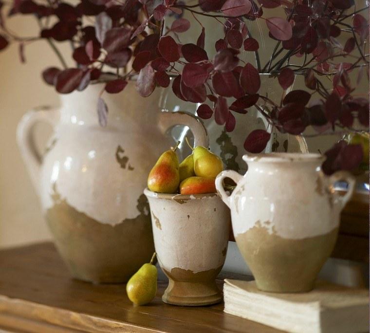 jarrones peras hojas secas arbol decorativas ideas