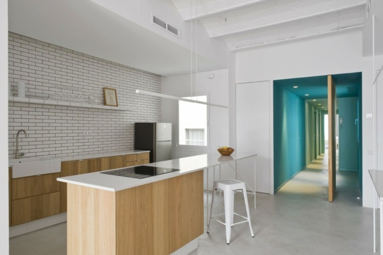 losas blanco pared cocina moderna isla ideas