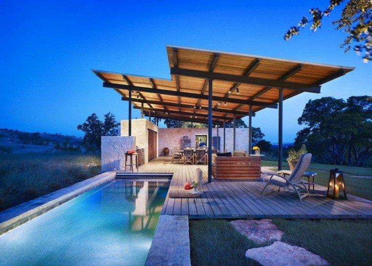 lake flato jardin pergola cocina exterior piscina ideas