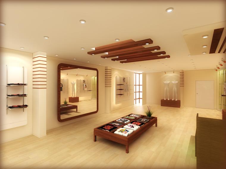 Falso techo de dise o moderno cincuenta modelos - Techos decorativos de madera ...