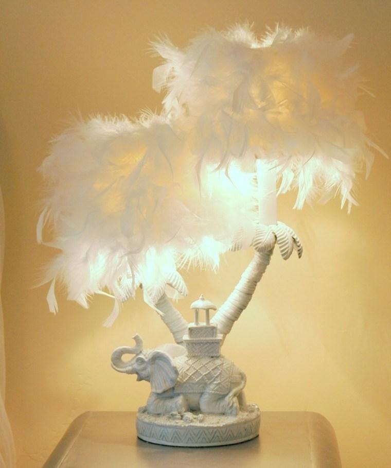 lampara elefantes plumas blancas original