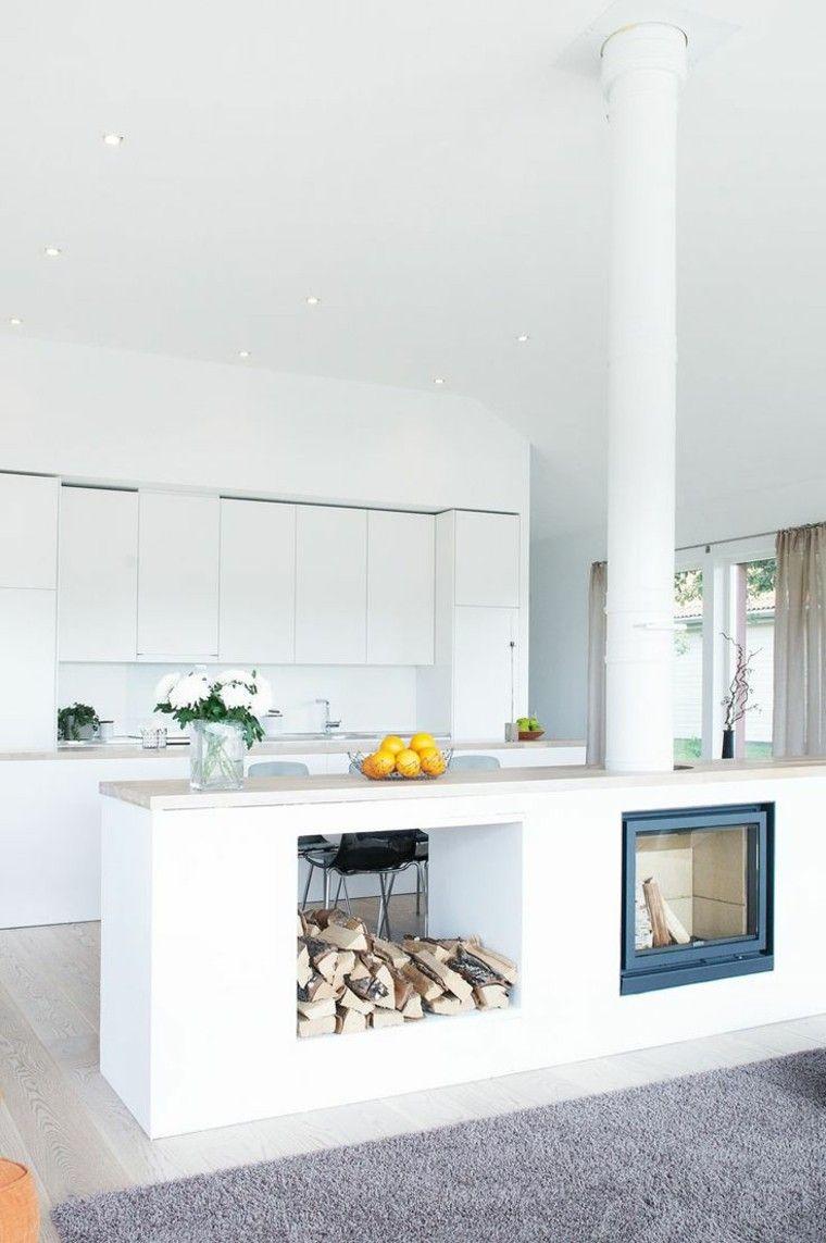 leña cocina amplia clara taburetes