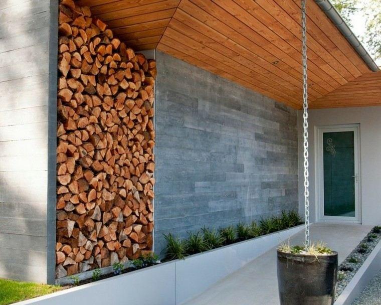 leña decoracion cadena troncos casa