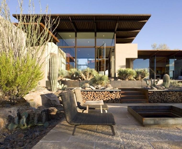 leña decoracion exterior cactus sillas