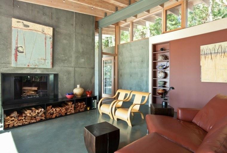 leña decoracion mueble amplio pared