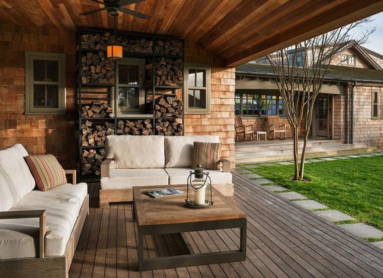 leña decoracion sillon madera terraza