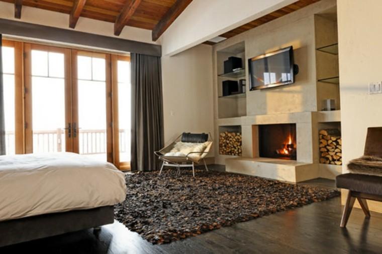 leña habitacion ventanas cama alfombra
