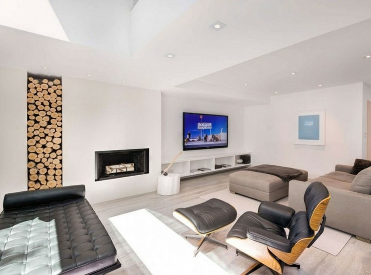 led madera cojines cuero vertical