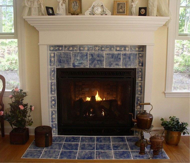 losa blanco azul salon chimenea moderna ideas