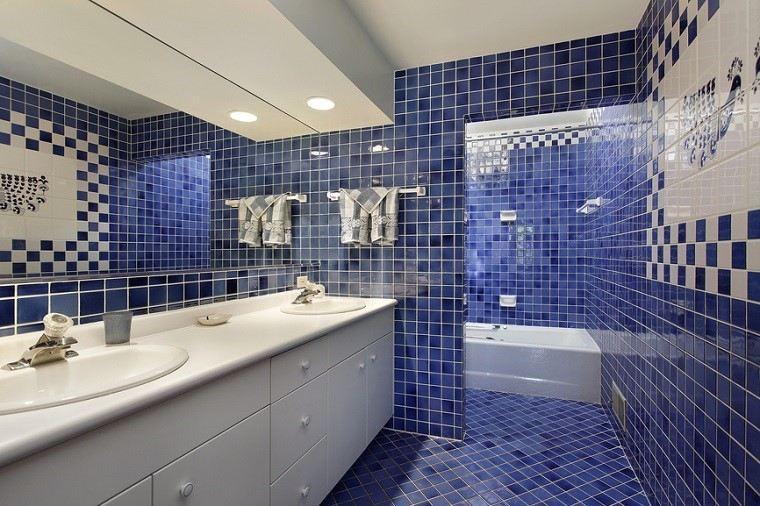 losas azules blancas suelo pared bano amplio