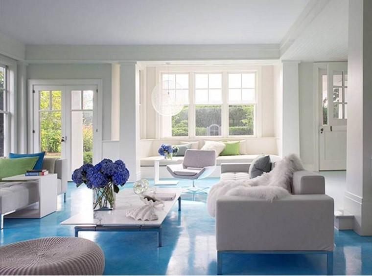 losas azules suelo salon moderno sofa blanca ideas